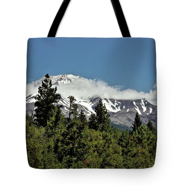 Lonely As God And White As A Winter Moon - Mount Shasta California Tote Bag by Christine Till