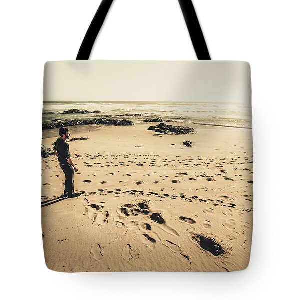 Lonely Beach Sunset Tote Bag