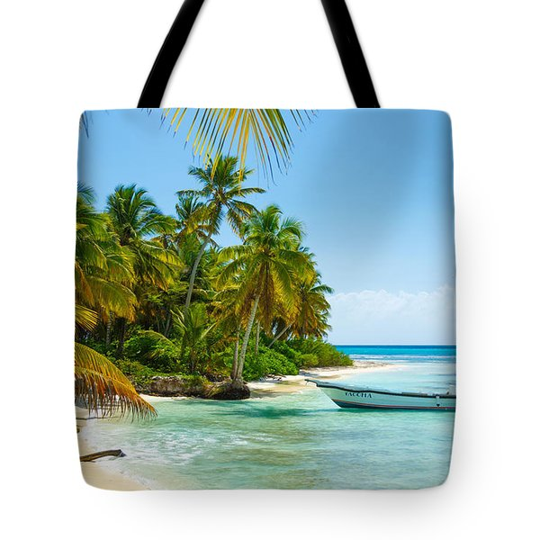 Lonely Boat On Tropic Beach Tote Bag