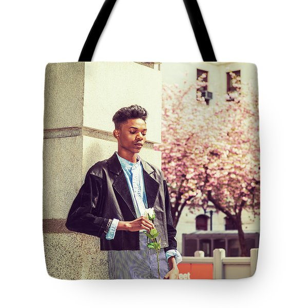 Lonely Boy With White Rose 15042643 Tote Bag