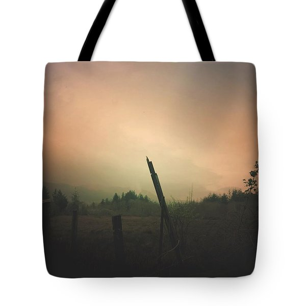 Tote Bag featuring the digital art Lonely Fence Post  by Chriss Pagani