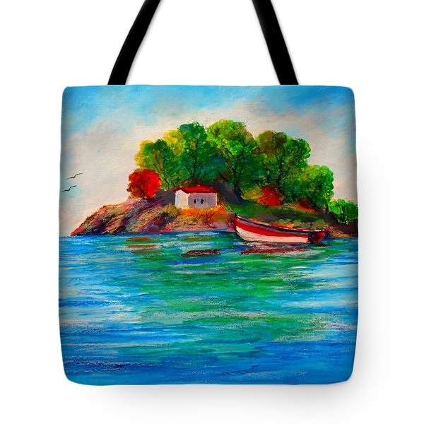 Lonely Island In Greece Tote Bag