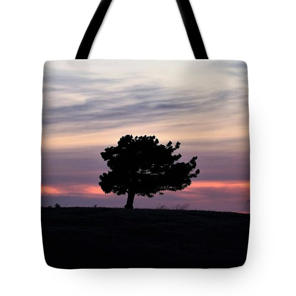 Tote Bag featuring the photograph Lonely Little Pine At Sunset by Sheila Brown