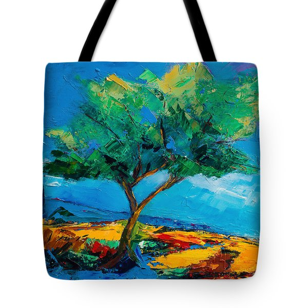 Tote Bag featuring the painting Lonely Olive Tree by Elise Palmigiani