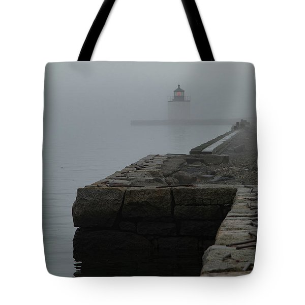 Tote Bag featuring the photograph Lonely Salem Lighthouse In Fog by Jeff Folger