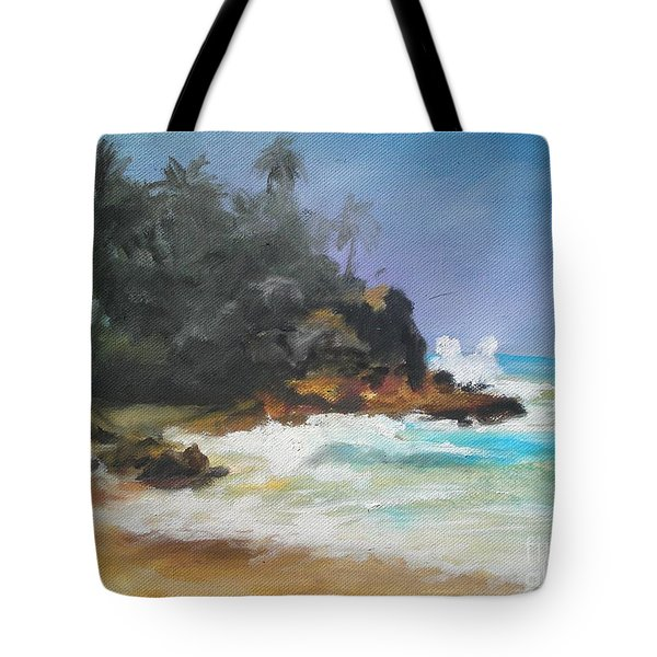 Tote Bag featuring the painting Lonely Sea by Rushan Ruzaick