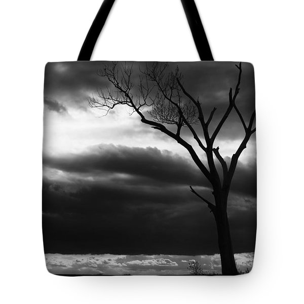 Tote Bag featuring the photograph Lonely Tree In Monochrome by Ricky L Jones