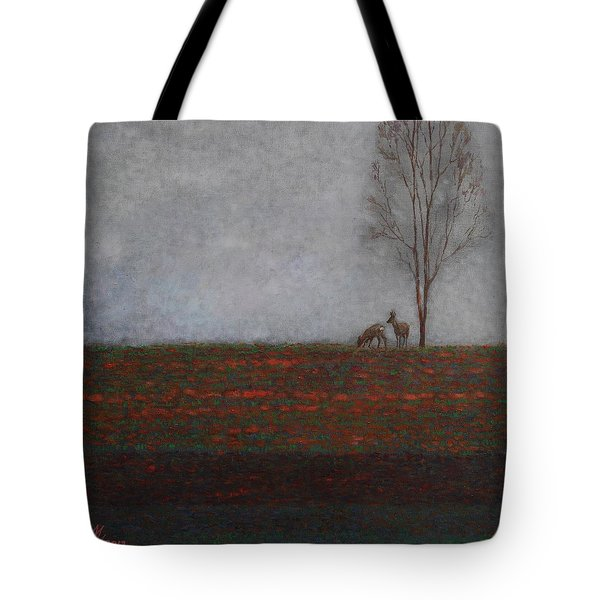 Lonely Tree With Two Roes Tote Bag