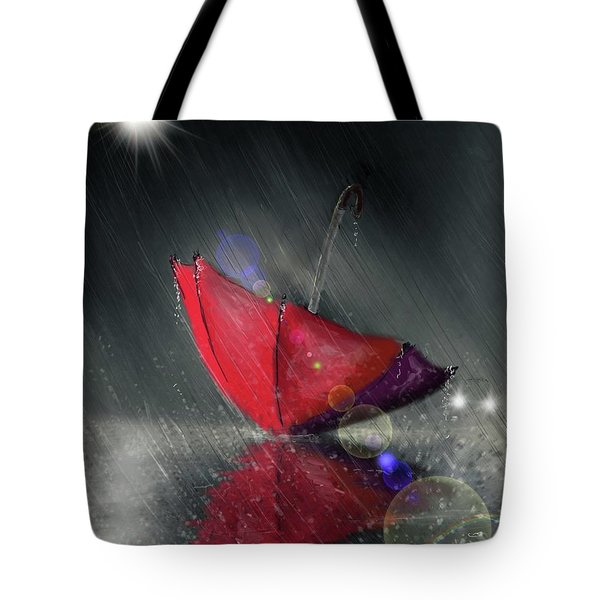 Tote Bag featuring the digital art Lonely Umbrella by Darren Cannell