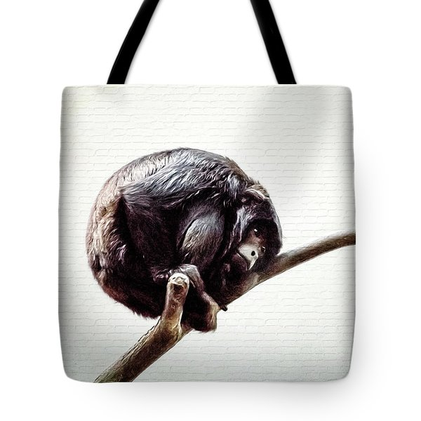 Tote Bag featuring the digital art Lonely Urban Chimpanzee  by Tracie Kaska