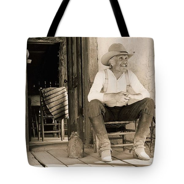 Lonesome Dove Gus On Porch Signed Print Tote Bag