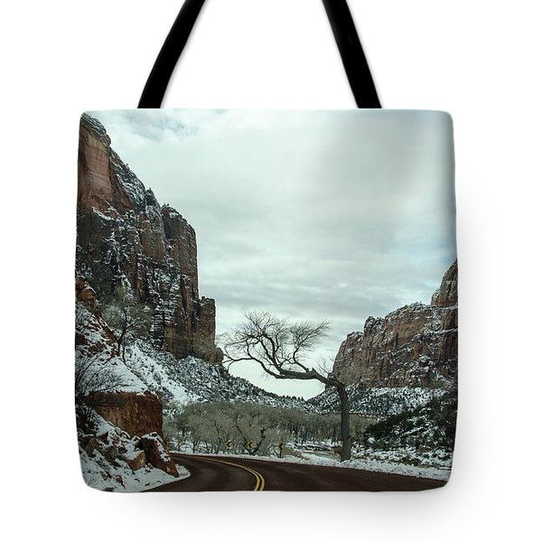 Tote Bag featuring the photograph Lonesome Snowy Winter In Zion by Gaelyn Olmsted