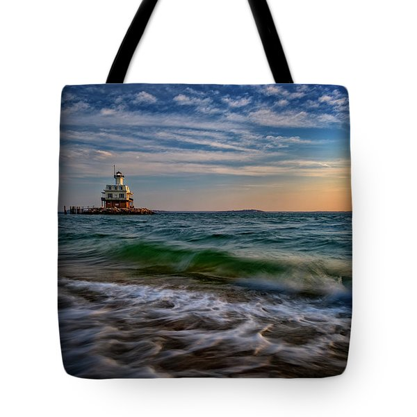 Long Beach Bar Lighthouse Tote Bag