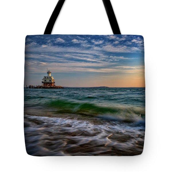 Long Beach Bar Lighthouse Tote Bag by Rick Berk
