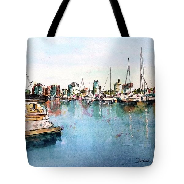 Tote Bag featuring the painting Long Beach Coastal View by Debbie Lewis