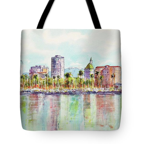 Tote Bag featuring the painting Long Beach Coastline Reflections by Debbie Lewis