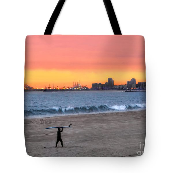 Long Beach From Huntington Beac Tote Bag