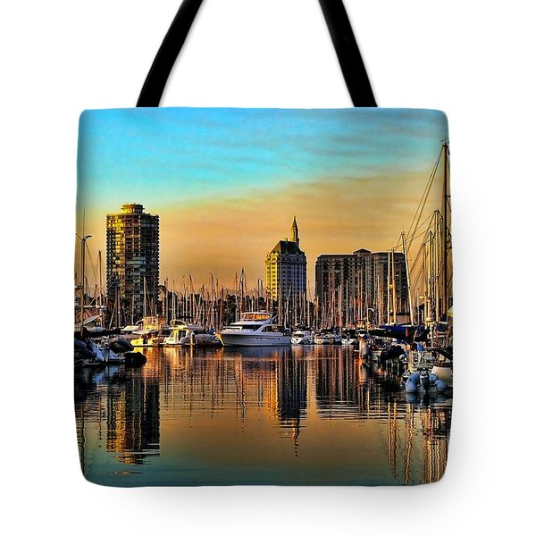 Tote Bag featuring the photograph Long Beach Harbor by Mariola Bitner