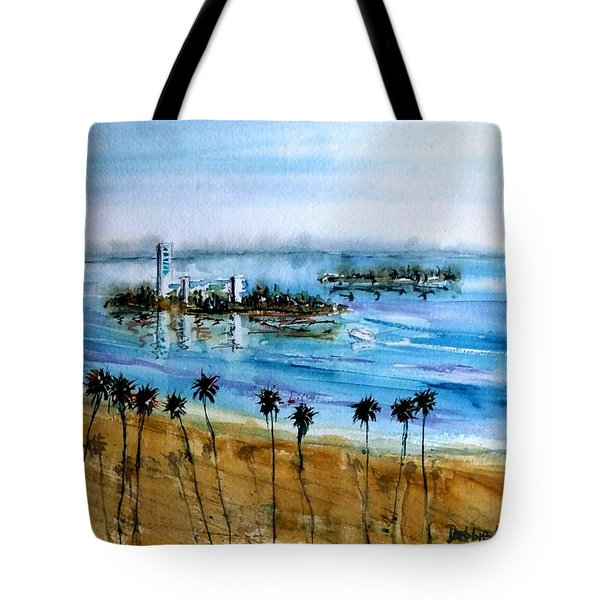 Tote Bag featuring the painting Long Beach Oil Islands Before Sunset by Debbie Lewis