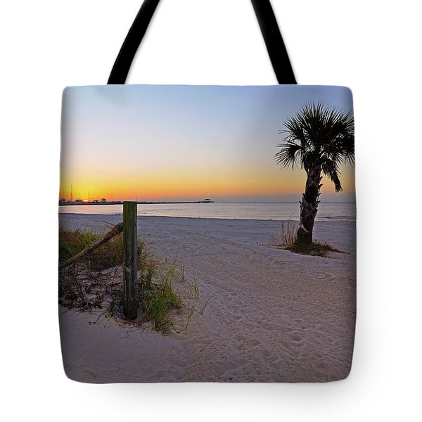 Tote Bag featuring the photograph Long Beach Sunrise - Mississippi - Beach by Jason Politte