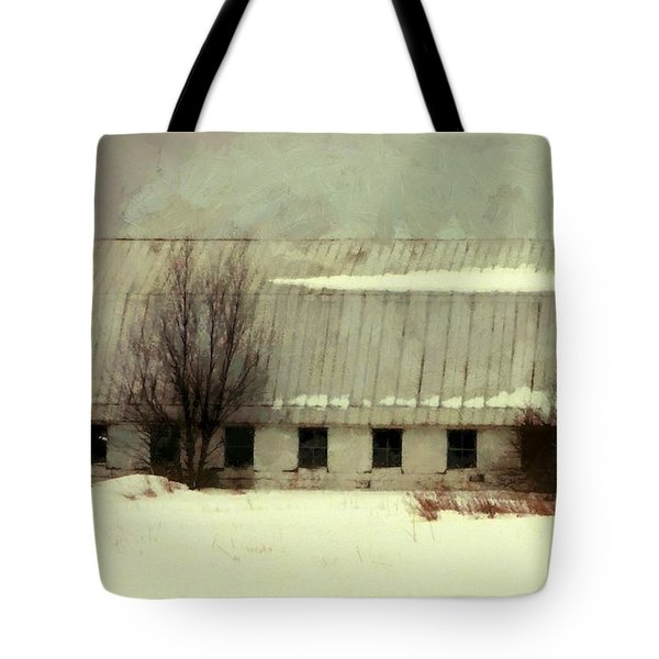 Tote Bag featuring the photograph Long Cold Winter - Winter Barn by Janine Riley