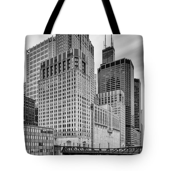 Long Exposure Image Of Chicago River Civic Opera House And Top Of The Willis Tower - Illinois Tote Bag