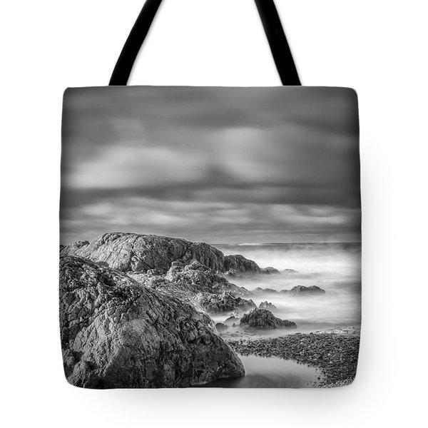 Long Exposure Of A Shingle Beach And Rocks Tote Bag
