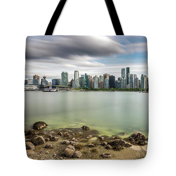 Long Exposure Of Vancouver City Tote Bag