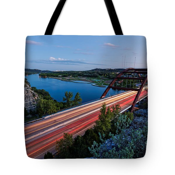 Long Exposure View Of Pennybacker Bridge Over Lake Austin At Twilight - Austin Texas Hill Country Tote Bag