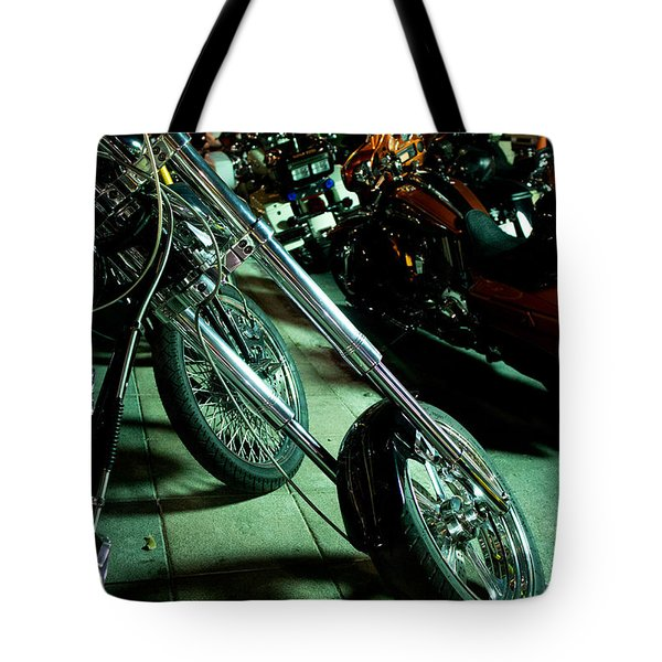 Long Front Fork And Wheel Of Chopper Bike At Night Tote Bag by Jason Rosette