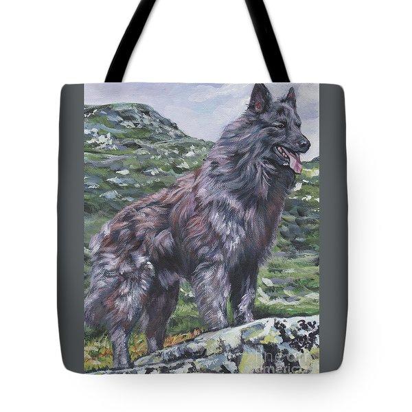 Tote Bag featuring the painting Long Hair Dutch Shepherd by Lee Ann Shepard