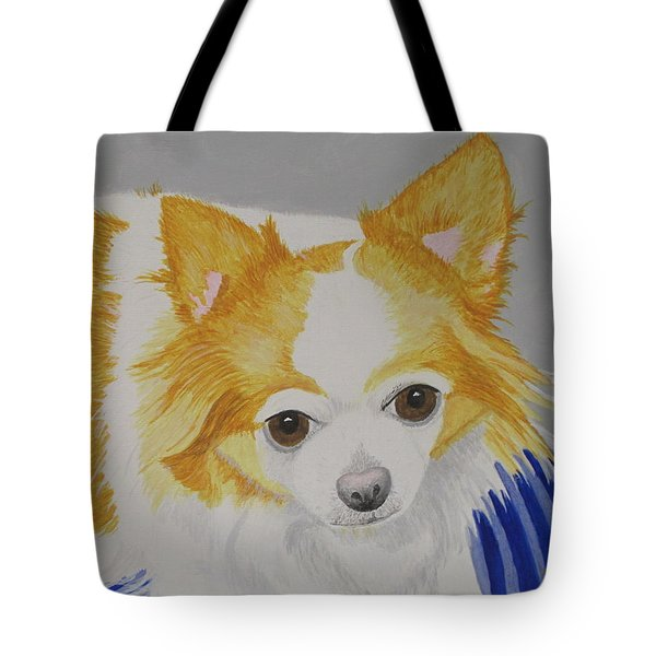 Tote Bag featuring the painting Long-haired Chihuahua by Hilda and Jose Garrancho