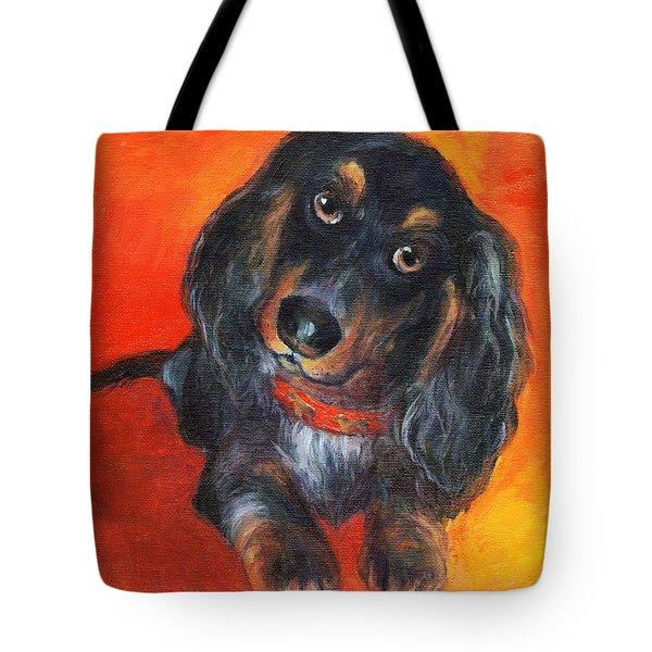 Long Haired Dachshund Dog Puppy Portrait Painting Tote Bag by Svetlana Novikova
