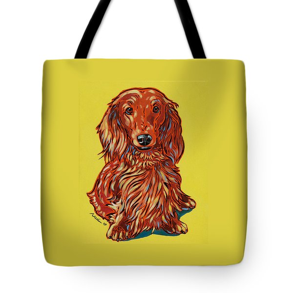 Long Haired Dachshund Tote Bag by Nadi Spencer