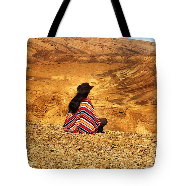 Long Haired Man In Poncho Tote Bag