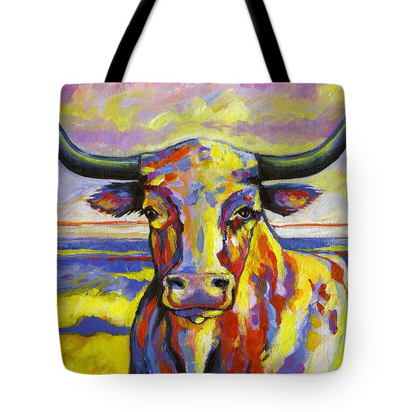 Long Horn At Sunset Tote Bag