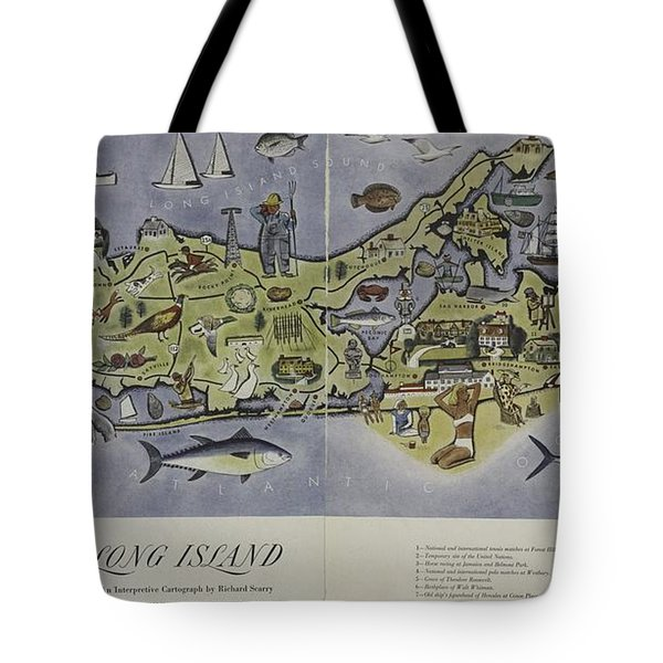 Long Island An Interpretive Cartograph Tote Bag