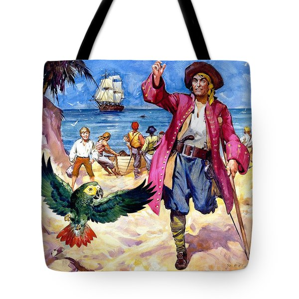 Long John Silver And His Parrot Tote Bag by James McConnell