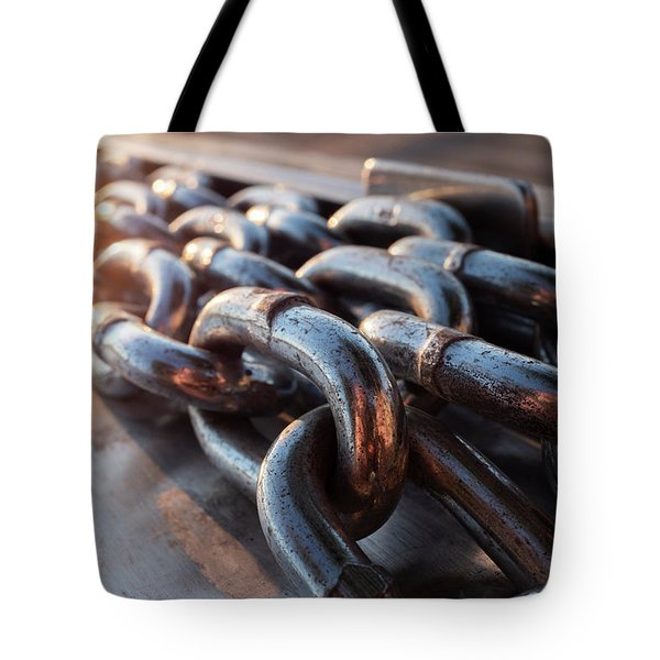 Long Metal Chains On A Boat Dock Near The Water In Green Bay Wisconsin Tote Bag