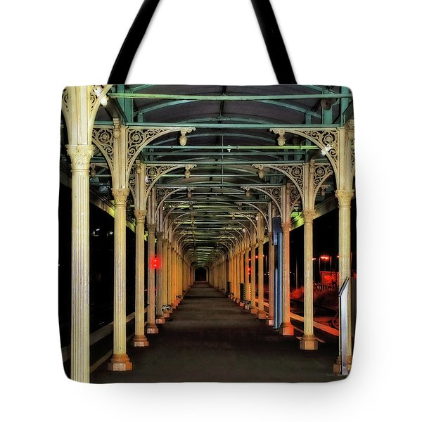 Tote Bag featuring the photograph Long Platform Albury Station By Kaye Menner by Kaye Menner