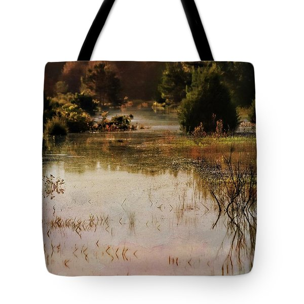 Long Pond Misty Morning Tote Bag