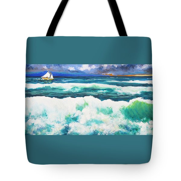 Long Thin Wave Tote Bag by Anne Marie Brown