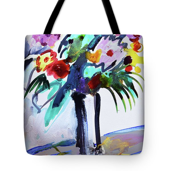 Long Vase Of Red Flowers Tote Bag