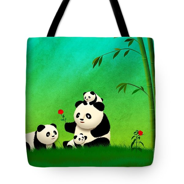Longevity Panda Family Asian Art Tote Bag