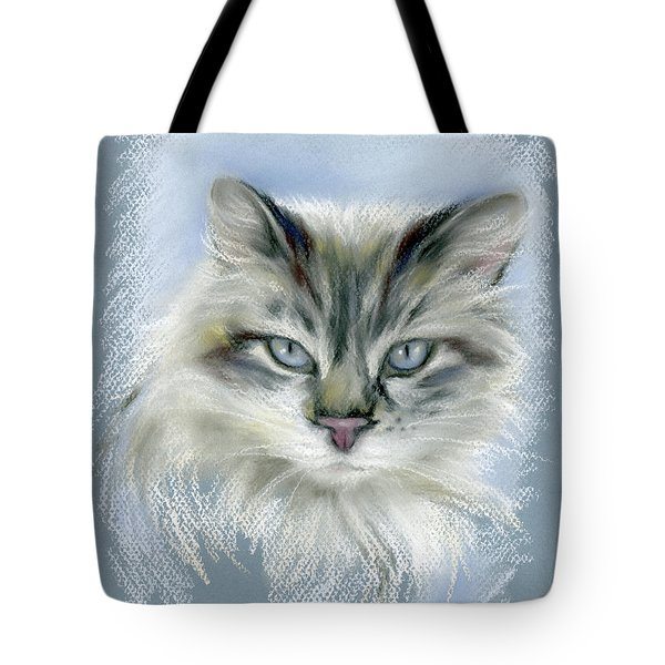 Longhaired Cat With Blue Eyes Tote Bag