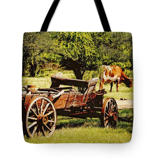 Longhorn And Wagon Tote Bag