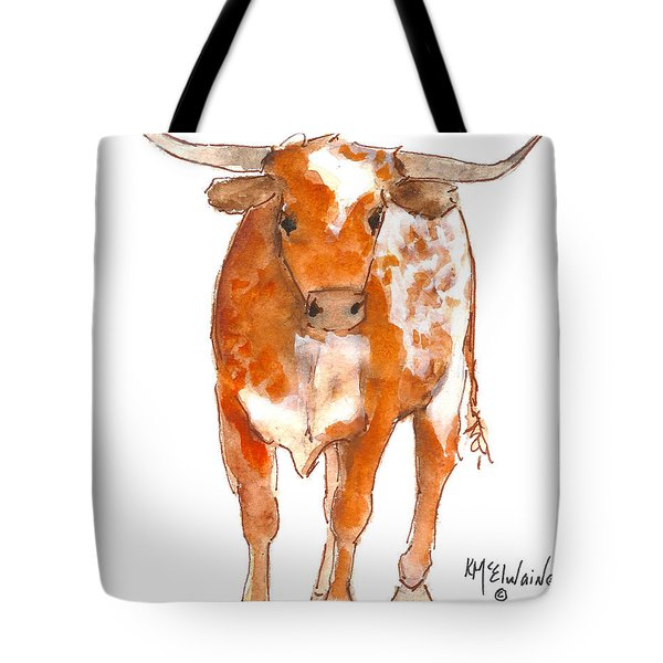 Texas Red Longhorn Watercolor Painting By Kmcelwaine Tote Bag