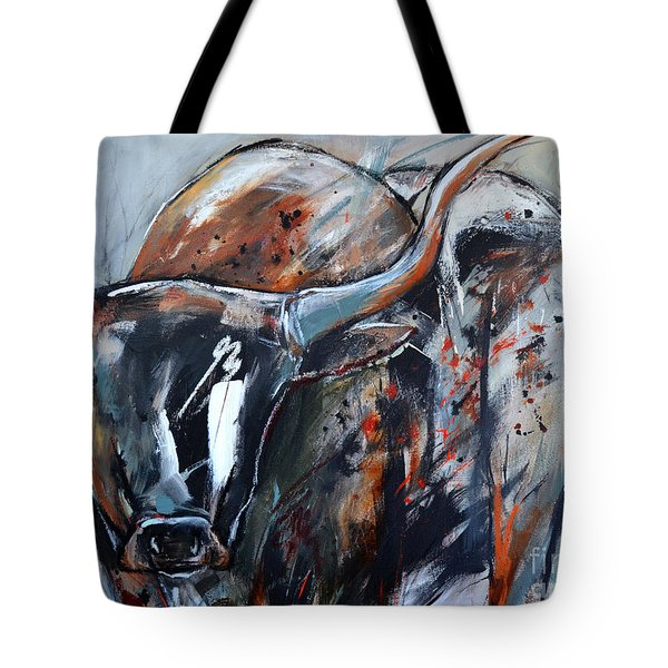 Tote Bag featuring the painting Longhorn by Cher Devereaux