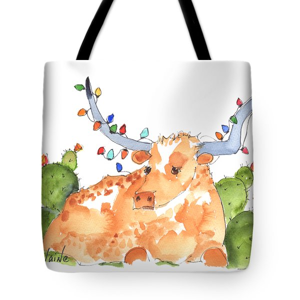 Longhorn Christmas Tote Bag