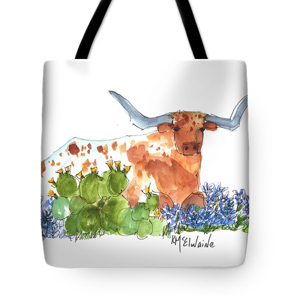 Longhorn In The Cactus And Bluebonnets Lh014 Kathleen Mcelwaine Tote Bag